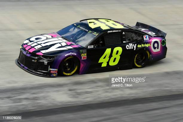 Jimmie Johnson driver of the Ally Chevrolet practices for the Monster Energy NASCAR Cup Series Food City 500 at Bristol Motor Speedway on April 5...