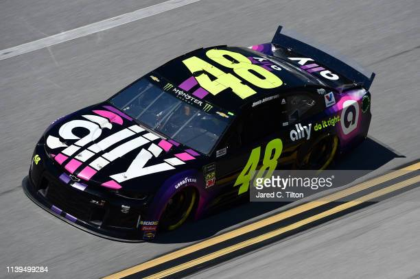 Jimmie Johnson driver of the Ally Chevrolet practices for the Monster Energy NASCAR Cup Series GEICO 500 at Talladega Superspeedway on April 26 2019...