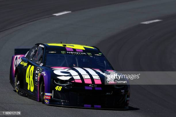 Jimmie Johnson driver of the Ally Chevrolet practices for the Monster Energy NASCAR Cup Series Foxwoods Resort Casino 301 at New Hampshire Motor...