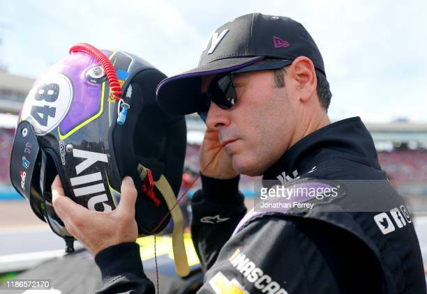 Jimmie Johnson driver of the Ally Chevrolet prepares during qualifying for the Monster Energy NASCAR Cup Series Bluegreen Vacations 500 at ISM...