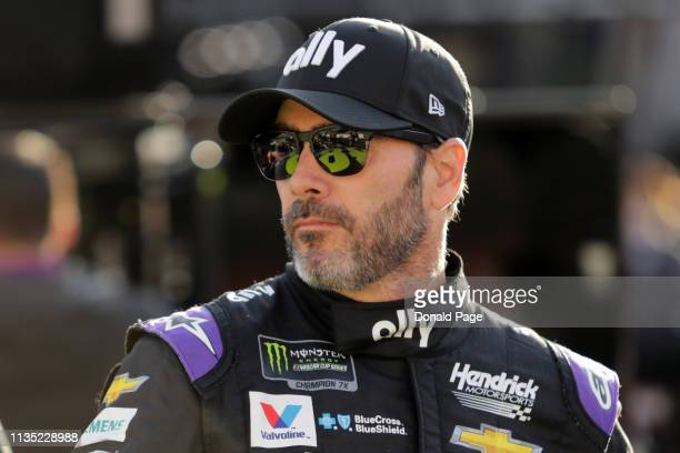 Jimmie Johnson driver of the Ally Chevrolet prepares to drive during practice for the Monster Energy NASCAR Cup Series Food City 500 at Bristol Motor...