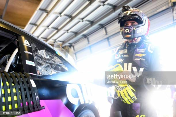 Jimmie Johnson, driver of the Ally Chevrolet, prepares to practice for the NASCAR Cup Series 62nd Annual Daytona 500 at Daytona International...