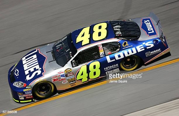 Jimmie Johnson driver of the Hendrick Motorsports Lowe's Chevrolet in action during practice for the NASCAR Nextel Cup Daytona 500 on February 12...