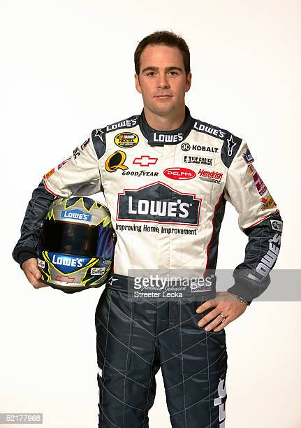 Jimmie Johnson driver of the Hendrick Motorsports Lowe's Chevrolet is shown during media day at the NASCAR Nextel Cup Daytona 500 February 10 2005 at...