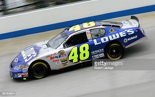 Jimmie Johnson driver of the Hendrick Motorsports Lowe's Chevrolet during practice for the NASCAR Nextel Cup Series MBNA Race Points 400 on September...