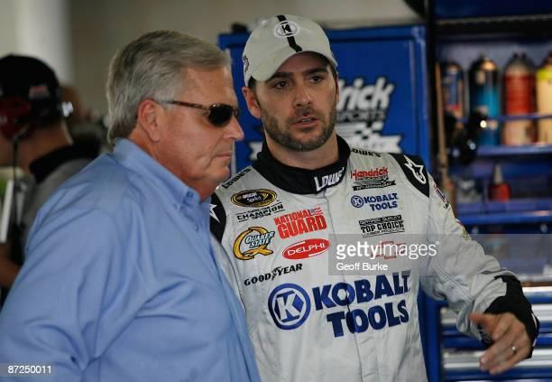 Jimmie Johnson driver of the Kobalt Tools Chevrolet talks with car owner Rick Hendrick during practice for the NASCAR Sprint AllStar Race on May 15...