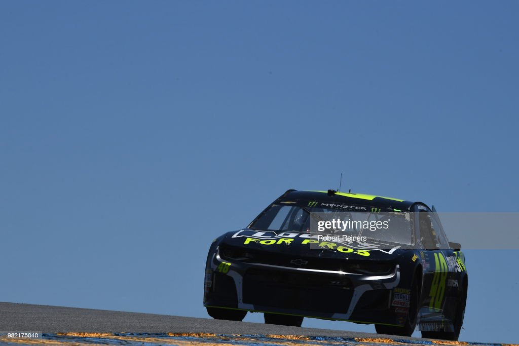 Jimmie Johnson, driver of the #48 Lowde's for Pros Chevrolet, drives during qualifying for the Monster Energy NASCAR Cup Series Toyota/Save Mart 350 at Sonoma Raceway on June 23, 2018 in Sonoma, California.