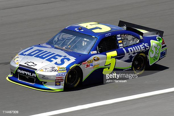 Jimmie Johnson driver of the Lowe's 5% Every Day Chevrolet practices for the NASCAR Sprint AllStar Race at Charlotte Motor Speedway on May 20 2011 in...