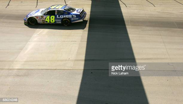 Jimmie Johnson driver of the Lowe's Cherolet during the NASCAR Nextel Cup MBNA RacePoints 400 on June 5 2005 at the Dover Internation Speedway in...
