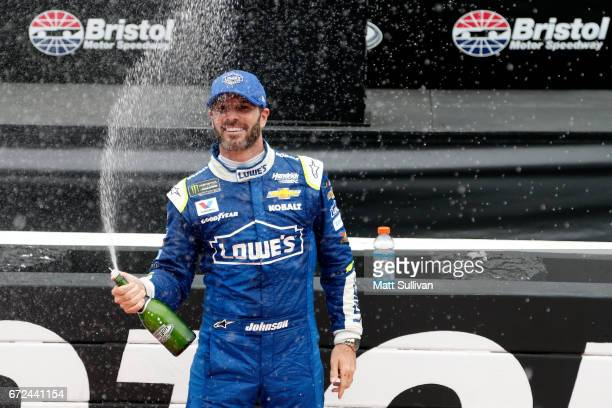 Jimmie Johnson, driver of the Lowe's Chevrolet, celebrates after winning the Monster Energy NASCAR Cup Series Food City 500 at Bristol Motor Speedway...