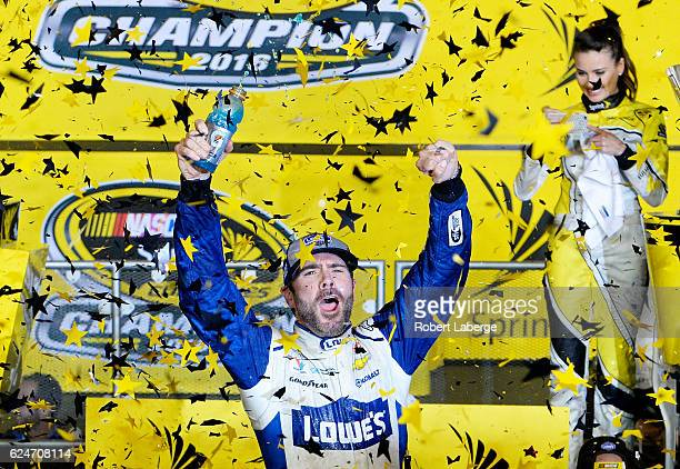 Jimmie Johnson, driver of the Lowe's Chevrolet, celebrates in Victory Lane after winning the NASCAR Sprint Cup Series Ford EcoBoost 400 and the 2016...