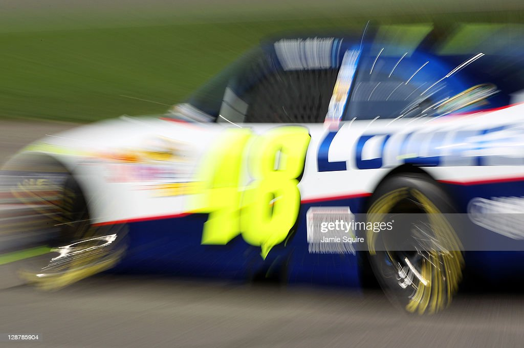 Jimmie Johnson, driver of the #48 Lowe's Chevrolet, drives during practice for the NASCAR Sprint Cup Series Hollywood Casino 400 at Kansas Speedway on October 7, 2011 in Kansas City, Kansas.