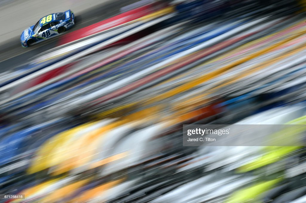 Jimmie Johnson, driver of the #48 Lowe's Chevrolet, drives during practice for the Monster Energy NASCAR Cup Series Food City 500 at Bristol Motor Speedway on April 21, 2017 in Bristol, Tennessee.