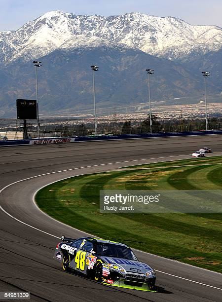 Jimmie Johnson, driver of the Lowes Chevrolet drives during practice for the NASCAR Sprint Cup Series Auto Club 500 at Auto Club Speedway on February...