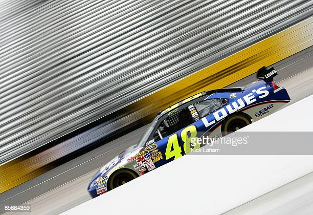Jimmie Johnson driver of the Lowe's Chevrolet drives during practice for the NASCAR Sprint Cup Series Goody�s Fast Pain Relief 500 at the...
