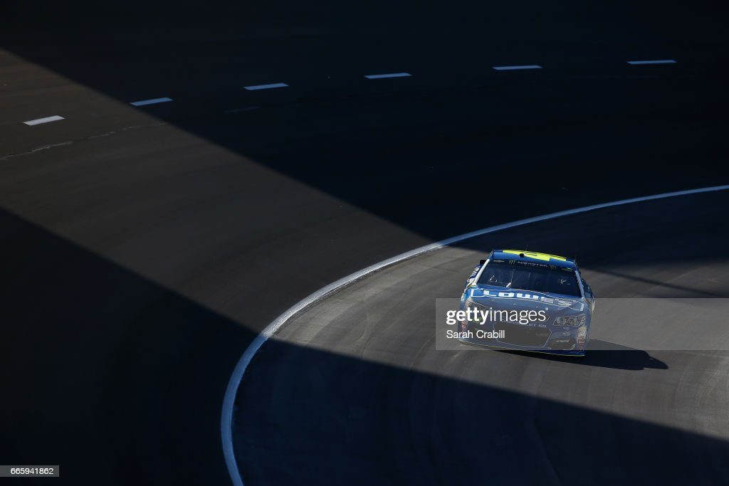 Jimmie Johnson, driver of the #48 Lowe's Chevrolet, drives during qualifying for the Monster Energy NASCAR Cup Series O'Reilly Auto Parts 500 at Texas Motor Speedway on April 7, 2017 in Fort Worth, Texas.