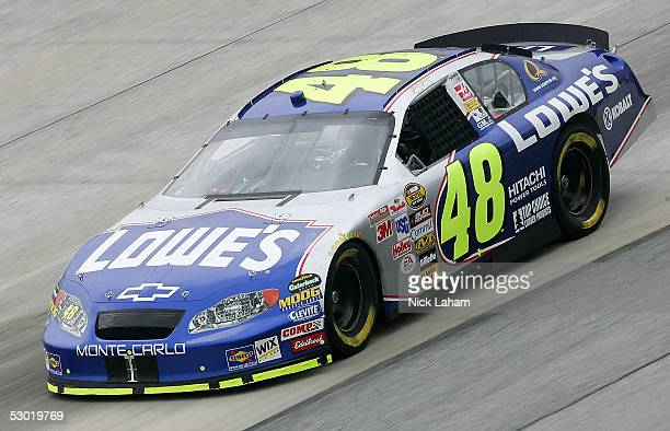 Jimmie Johnson driver of the Lowe's Chevrolet drives during the NASCAR Nextel Cup MBNA RacePoints 400 practice on June 4 2005 at Dover International...
