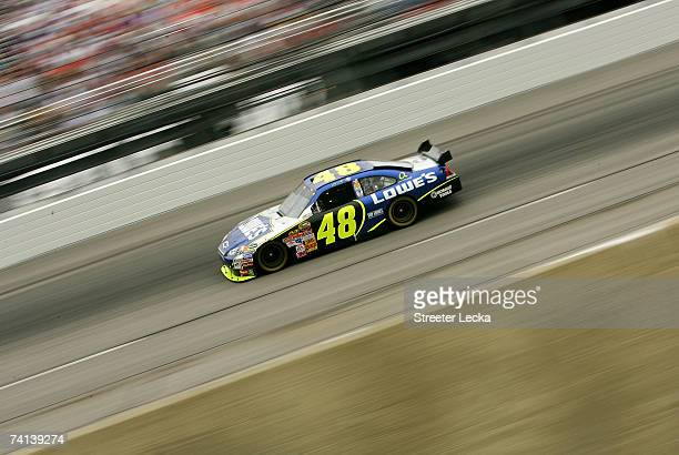 Jimmie Johnson, driver of the Lowe's Chevrolet, drives during the NASCAR Nextel Cup Series Dodge Avenger 500 on May 13, 2007 at Darlington Raceway in...