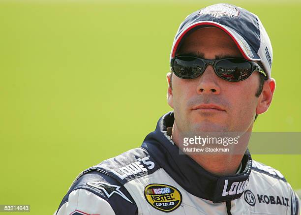 Jimmie Johnson driver of the Lowe's Chevrolet during practice for the USG 400 July 8 2005 at Chicagoland Speedway in Joliet Illinois
