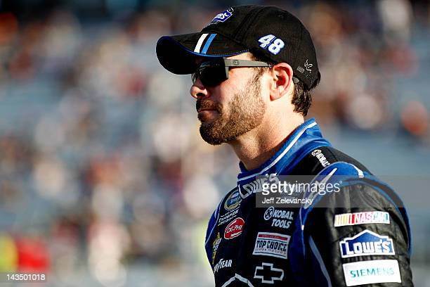 Jimmie Johnson driver of the Lowe's Chevrolet during qualifying for the NASCAR Sprint Cup Series Capital City 400 at Richmond International Raceway...