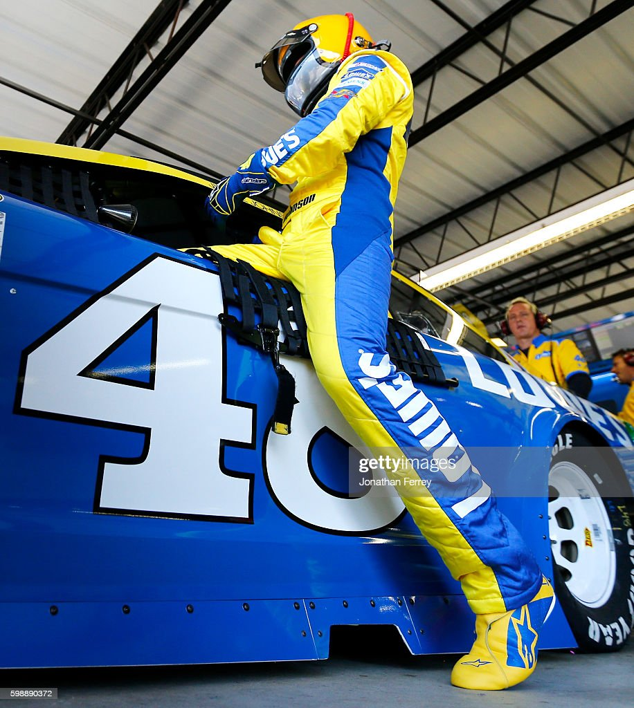 Jimmie Johnson, driver of the #48 Lowe's Chevrolet, gets into his car during practice for the NASCAR Sprint Cup Series Bojangles' Southern 500 at Darlington Raceway on September 3, 2016 in Darlington, South Carolina.