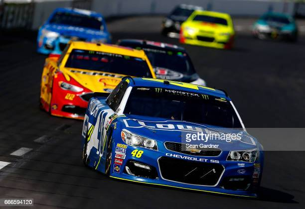 Jimmie Johnson driver of the Lowe's Chevrolet leads a pack of cars during the Monster Energy NASCAR Cup Series O'Reilly Auto Parts 500 at Texas Motor...