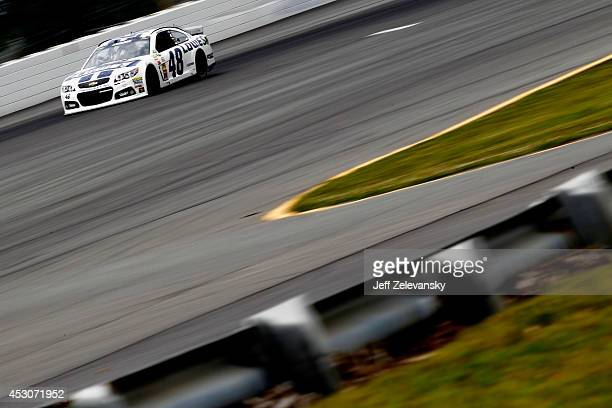 Jimmie Johnson driver of the Lowe's Chevrolet on track during practice for the NASCAR Sprint Cup Series GoBowlingcom 400 at Pocono Raceway on August...