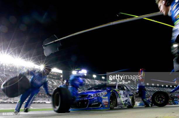 Jimmie Johnson driver of the Lowe's Chevrolet pits during the Monster Energy NASCAR Cup Series CanAm Duel 2 at Daytona International Speedway on...