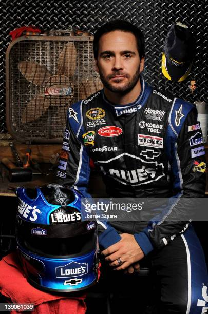 Jimmie Johnson driver of the Lowe's Chevrolet poses during NASCAR Media Day at Daytona International Speedway on February 16 2012 in Daytona Beach...