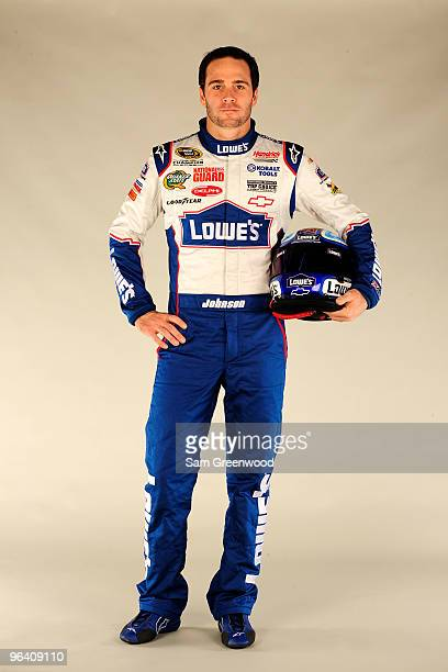 Jimmie Johnson driver of the Lowe's Chevrolet poses during NASCAR media day at Daytona International Speedway on February 4 2010 in Daytona Beach...