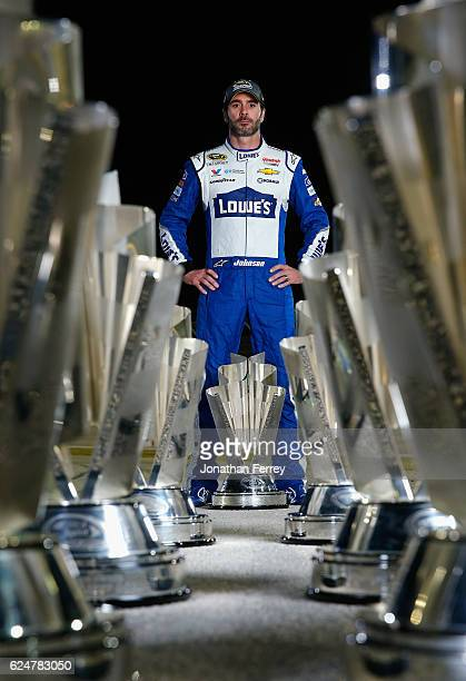 Jimmie Johnson driver of the Lowe's Chevrolet poses for a portrait after winning the 2016 NASCAR Sprint Cup Series Championship at HomesteadMiami...