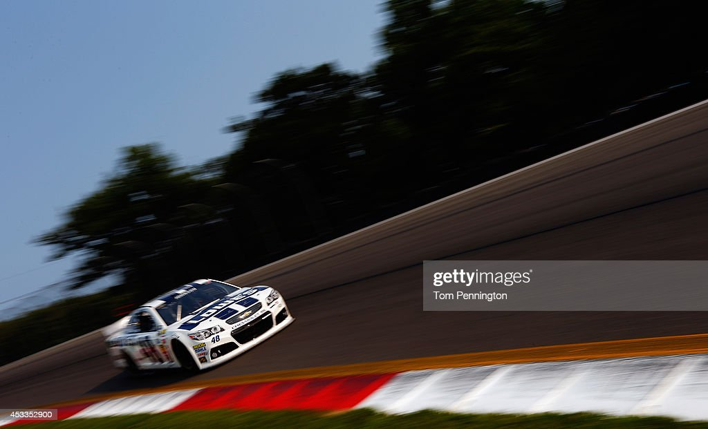 Jimmie Johnson, driver of the #48 Lowe's Chevrolet, practices for the NASCAR Sprint Cup Series Cheez-It 355 at Watkins Glen International on August 8, 2014 in Watkins Glen, New York.