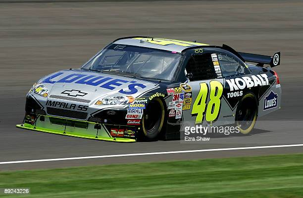 Jimmie Johnson driver of the Lowe's Chevrolet practices for the NASCAR Sprint Cup Series Allstate 400 at the Brickyard at Indianapolis Motor Speedway...