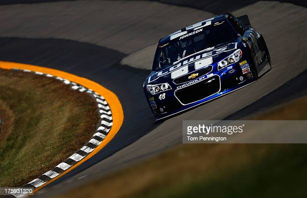 Jimmie Johnson driver of the Lowe's Chevrolet qualifies for the NASCAR Sprint Cup Series CheezIt 355 at The Glen at Watkins Glen International on...