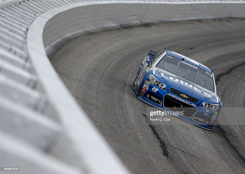 Jimmie Johnson, driver of the #48 Lowe's Chevrolet, races during the NASCAR Sprint Cup Series Folds of Honor QuikTrip 500 at Atlanta Motor Speedway on March 1, 2015 in Hampton, Georgia.