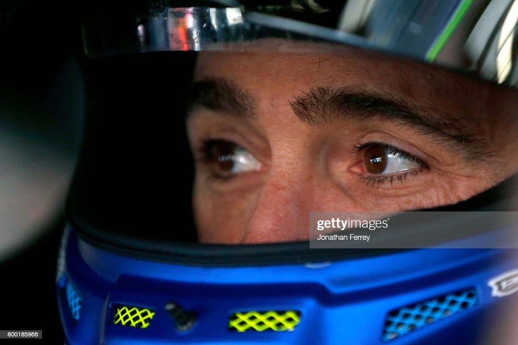 Jimmie Johnson, driver of the #48 Lowe's Chevrolet, sits in his car during practice for the Monster Energy NASCAR Cup Series Toyota/Save Mart 350 at Sonoma Raceway on June 23, 2017 in Sonoma, California.