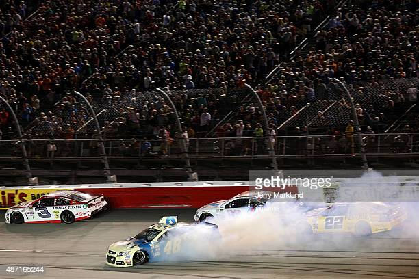 Jimmie Johnson driver of the Lowe's Chevrolet spins on track during the NASCAR Sprint Cup Series Bojangles' Southern 500 at Darlington Raceway on...
