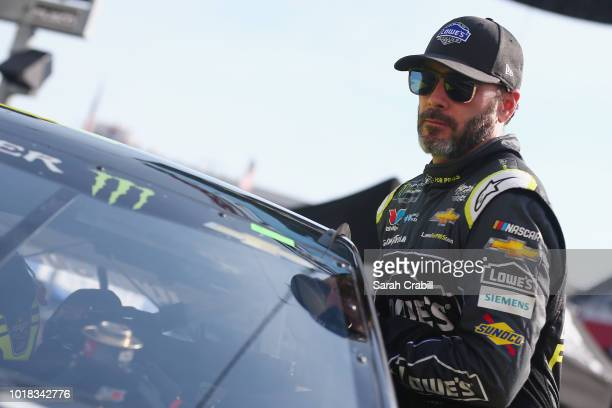 Jimmie Johnson driver of the Lowe's for Pros Chevrolet gets into his car during qualifying for the Monster Energy NASCAR Cup Series Bass Pro Shops...
