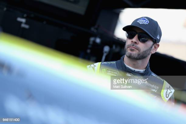 Jimmie Johnson driver of the Lowe's for Pros Chevrolet gets into his car during practice for the Monster Energy NASCAR Cup Series Food City 500 at...