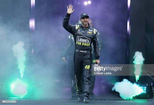 Jimmie Johnson driver of the Lowe's for Pros Chevrolet participates in prerace ceremonies prior to the start of the Monster Energy NASCAR Cup Series...