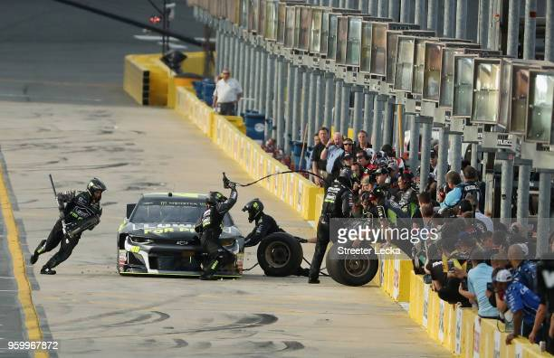 Jimmie Johnson driver of the Lowe's for Pros Chevrolet pits during qualifying for the Monster Energy NASCAR Cup Series AllStar Race at Charlotte...