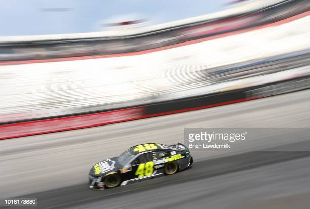 Jimmie Johnson driver of the Lowe's for Pros Chevrolet practices for the Monster Energy NASCAR Cup Series Bass Pro Shops NRA Night Race at Bristol...
