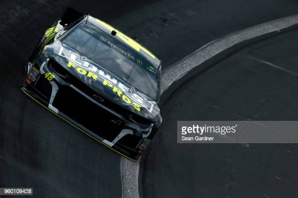 Jimmie Johnson driver of the Lowe's for Pros Chevrolet practices for the Monster Energy NASCAR Cup Series AllStar Race at Charlotte Motor Speedway on...