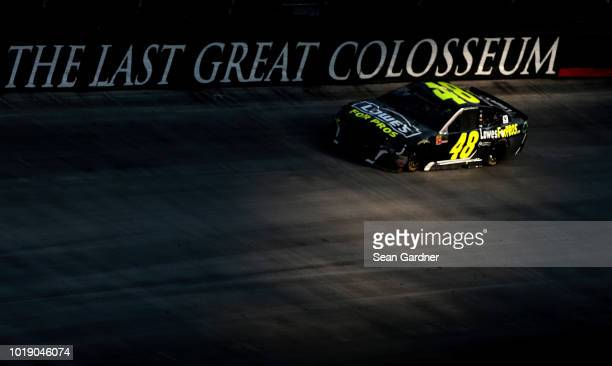 Jimmie Johnson driver of the Lowe's for Pros Chevrolet races during the Monster Energy NASCAR Cup Series Bass Pro Shops NRA Night Race at Bristol...