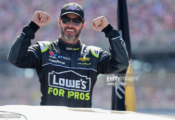 Jimmie Johnson driver of the Lowe's for Pros Chevrolet reacts as he arrives to his car on pit road prior to the Monster Energy NASCAR Cup Series...
