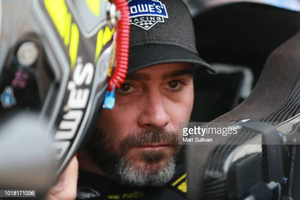 Jimmie Johnson driver of the Lowe's for Pros Chevrolet sits in his car during practice for the Monster Energy NASCAR Cup Series Bass Pro Shops NRA...