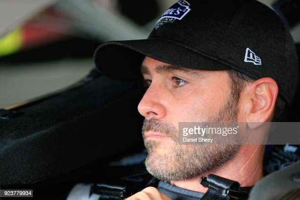 Jimmie Johnson driver of the Lowe's for Pros Chevrolet sits in his car during practice for the Monster Energy NASCAR Cup Series Folds of Honor...
