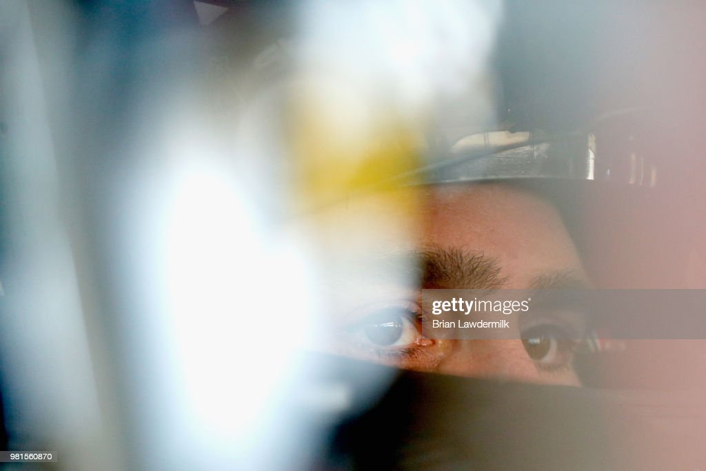 Jimmie Johnson, driver of the #48 Lowe's for Pros Chevrolet, sits in his car during practice for the Monster Energy NASCAR Cup Series Toyota/Save Mart 350 at Sonoma Raceway on June 22, 2018 in Sonoma, California.