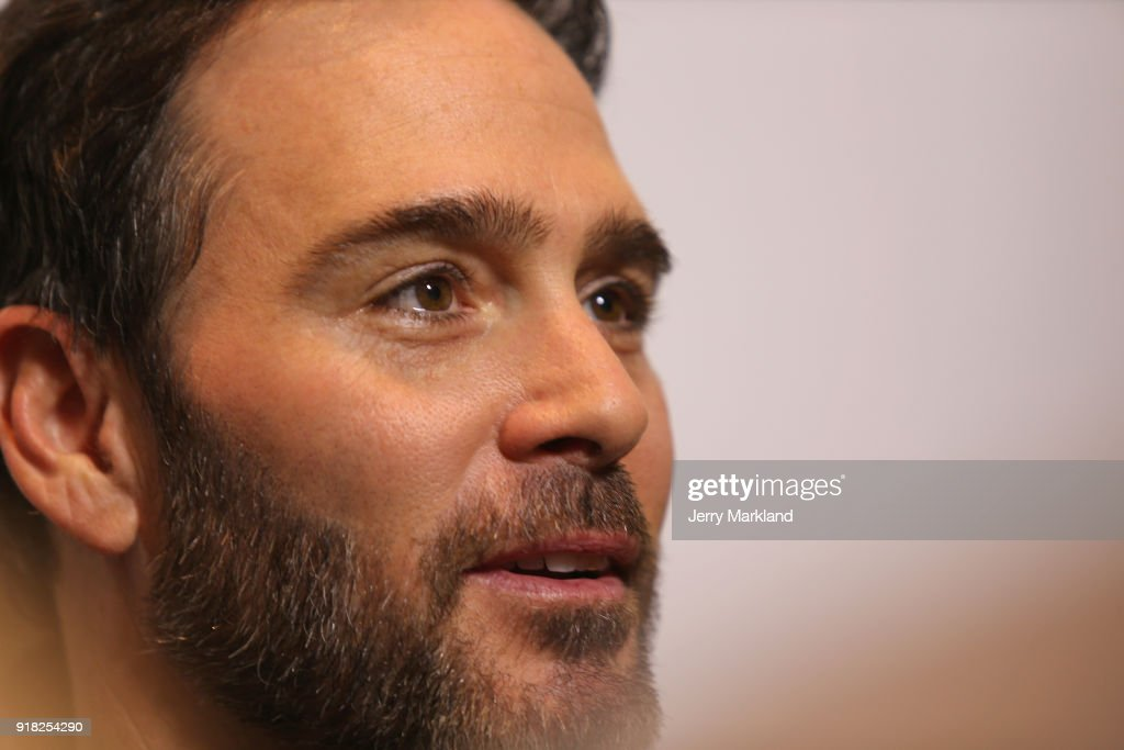 Jimmie Johnson, driver of the #48 Lowe's for Pros Chevrolet, speaks with the media during the Daytona 500 Media Day at Daytona International Speedway on February 14, 2018 in Daytona Beach, Florida.