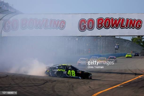 Jimmie Johnson driver of the Lowe's for Pros Chevrolet spins during the Monster Energy NASCAR Cup Series GoBowling at The Glen at Watkins Glen...